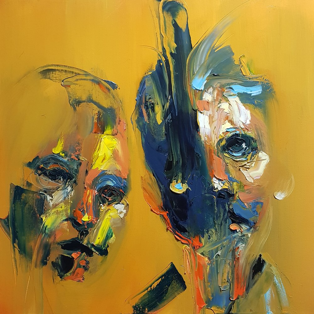 yellow background abstract portrait painting of two faces, blurred colours, contemporary visual art painted in Toronto