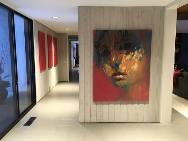 Original contemporary abstract portraits inside home in USA.