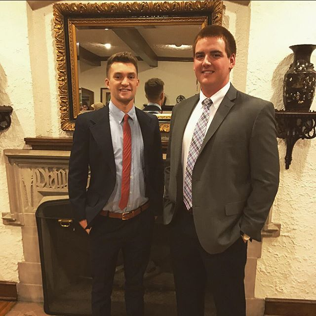 Congratulations to @evan_wheeler and @timmybates6 for earning the titles of our Brother[s] of the Week! Last night, Evan and Timmy wrapped up their terms as our President and Vice President, respectively. Thanks to their service to our Chapter during the last year, we were able to continue our upward trend toward becoming the best chapter possible, most notably helping us to earn the Most Improved Chapter award! #CourteousAndCultured #TheEndOfAnEra