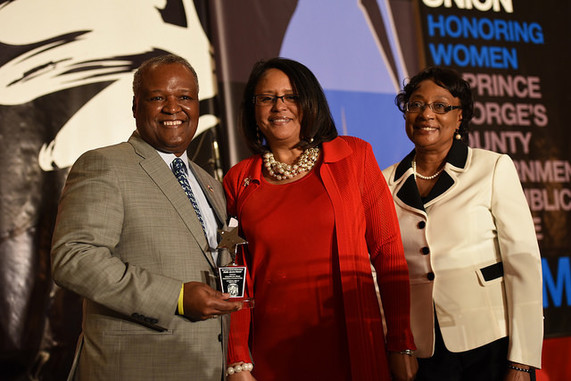 Prince George's County Executive Rushern L. Baker, III, Jacqueline Brooks Rhone (2016 Gladys Noon Spellman Public Service Award Recipient), Nellvenia Johnson (2015 Gladys Noon Spellman Public Service Award Recipient).