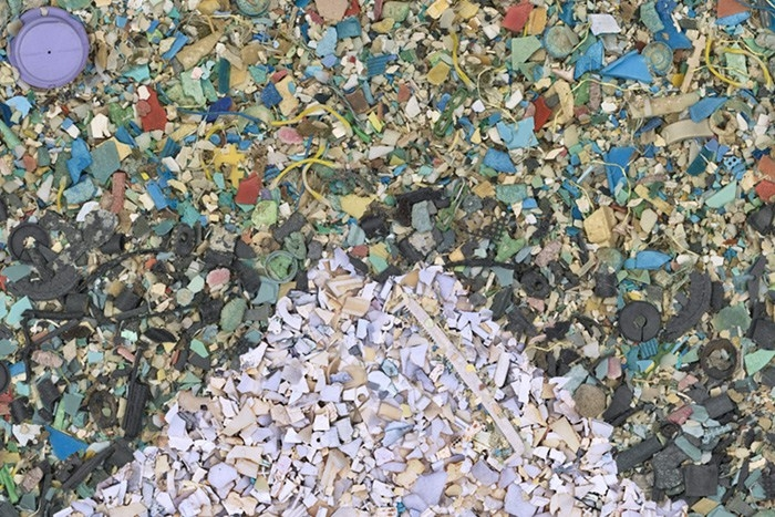 """Chris Jordan's """"Gyre"""" depicts 2.4 million pieces of plastic, equal to the estimated number of pounds of plastic pollution that enter the world's oceans every hour. Credit: Chris Jordan, FlickrCC"""