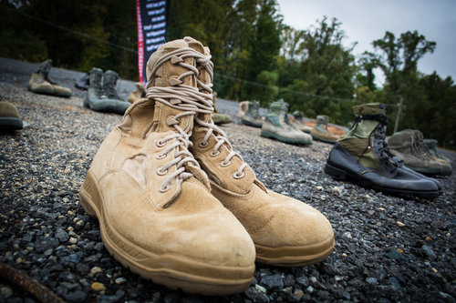 Never forgotten: The boots of veterans whose lives were lost to suicide.
