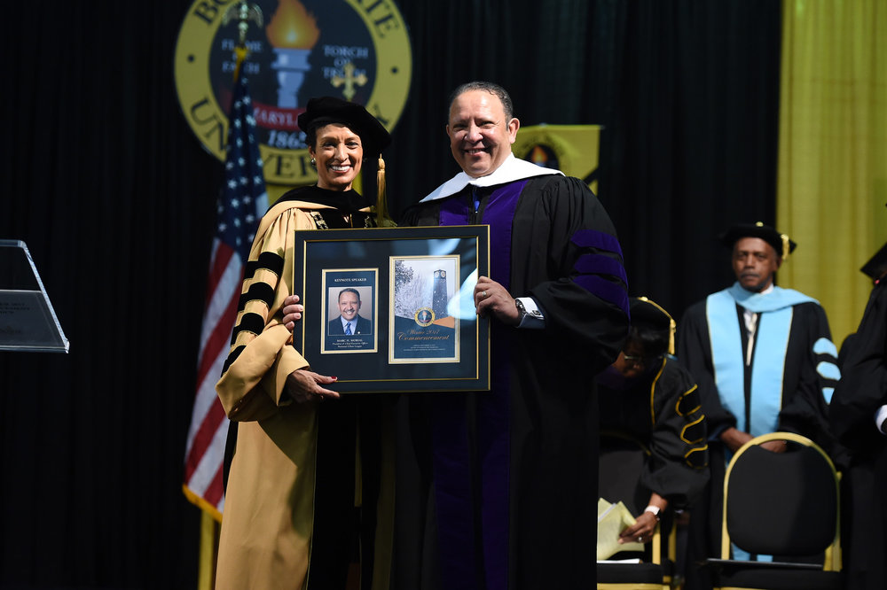 BSU President Dr. Aminta Breaux presents a gift to NUL President Morial. PHOTO: COURTESY BSU