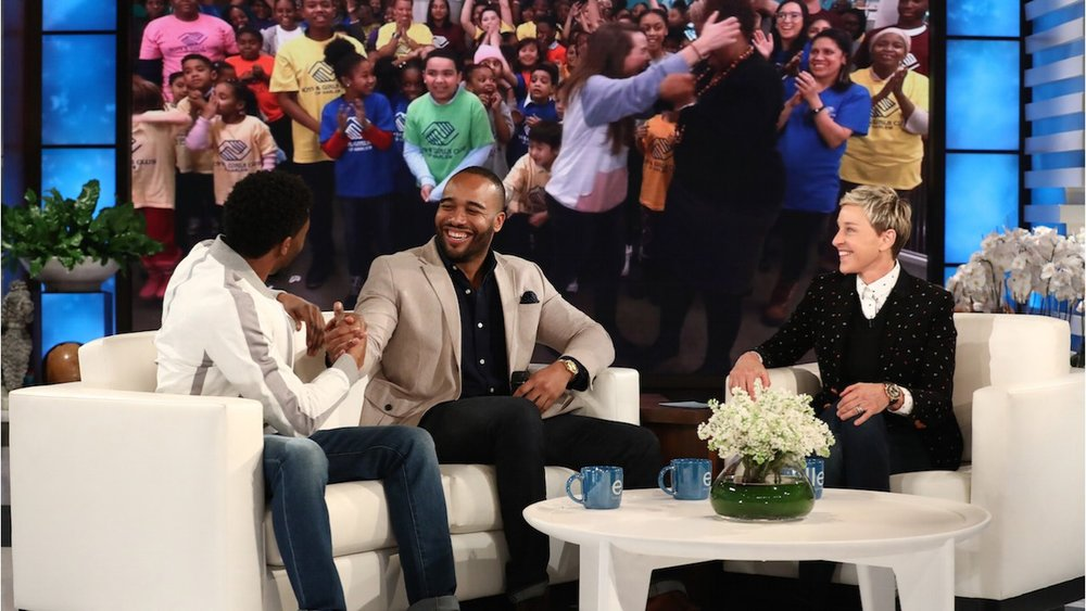 #BlackPantherChallenge creator Frederick Joseph is surprised on the Ellen Show by Black Panther film lead actor Chadwick Boseman. Joseph's GoFundMe page sought donations so that kids of the Boys & Girls Club of Harlem (shown in background image) can see the Black Panther film. Media attention got celebrities like Ellen Degeneres to jump on board. Degeneres fully funded this venture, allowing the Boys & Girls Club of Harlem to keep the donations for their club.