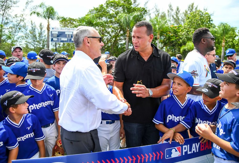 MIAMI, FL - JULY 11, 2017: Commissioner Rob Manfred, David P. Samson, Giancarlo Stanton, Alex Rodriguez during the Teen Center Renovation and Scotts/A-Rod Corp Field Refurbishment at Kendall Club of Boys & Girls Clubs of Miami-Dade. Photo: Robert Binder/MLB Photos via Getty Images