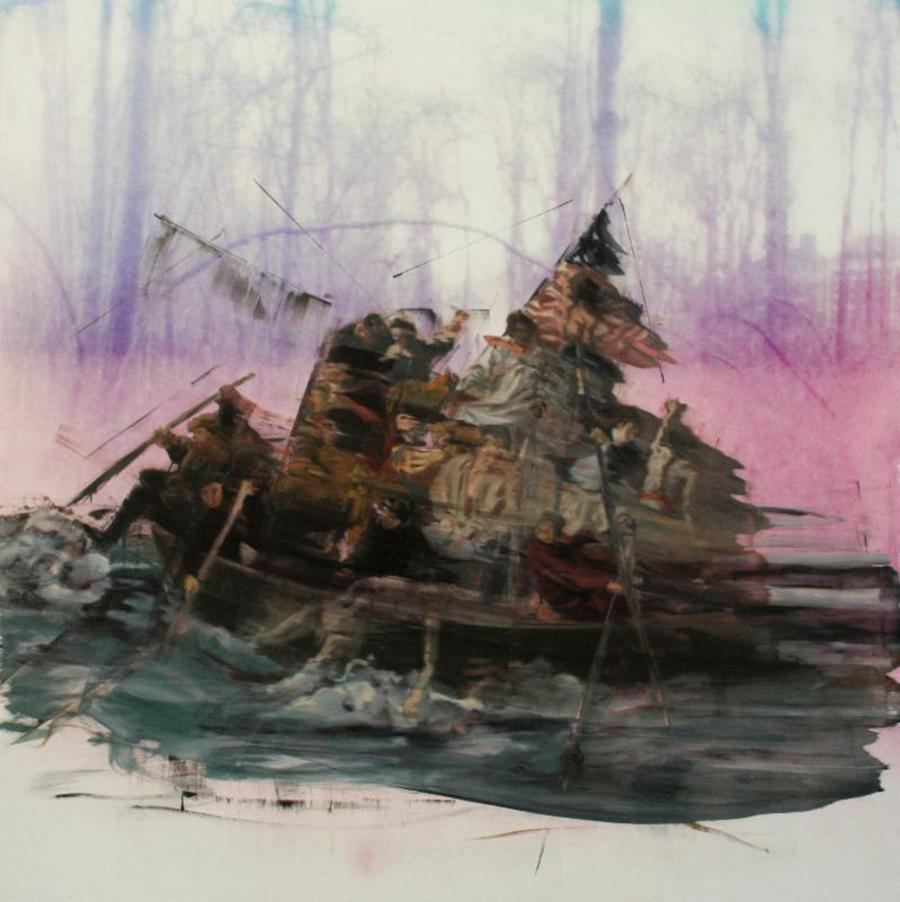 Matt Pinney .  Revolutionaries .  Oil on Aluminum UV Print . 48 x 48 in.