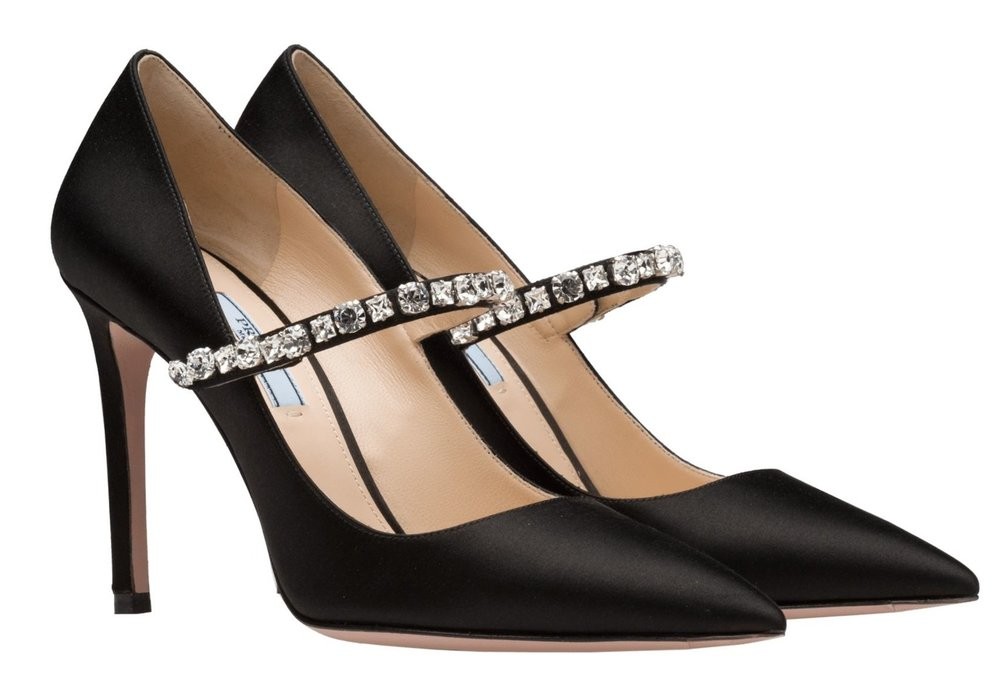 Make a grand entrance with Prada's silk pumps with synthetic crystals, $890.