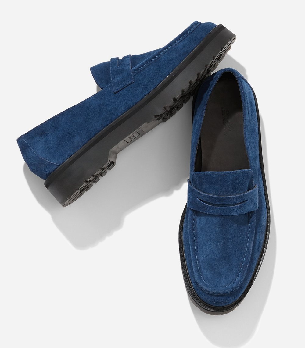 Brand new for fall 2018: Idris by Saturdays NYC is a soft suede upper loafer with rugged PVC lug sole. Shown in cobalt, $245.