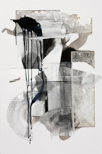 Maggie Michael -   Transfer Series: Water Table (Membrane)  (2018); Ink, acrylic, and charcoal on canvas, 72 x 48 in.
