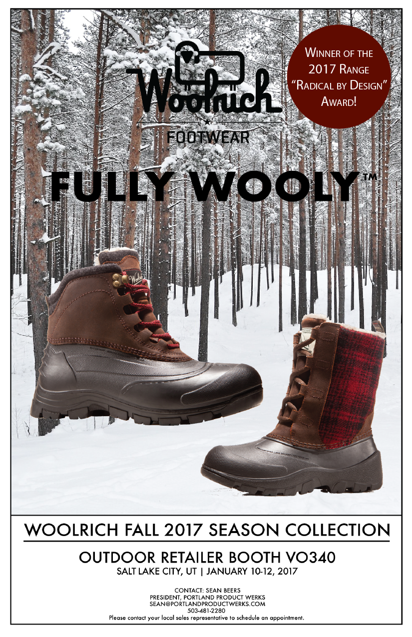 Woolrich Footwear will be at Outdoor Retailer 2017 at Booth VO340!  Contact: Sean Beers, 503-481-2280