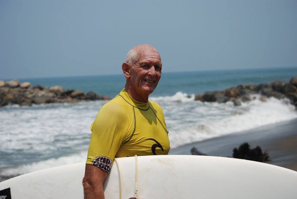 Misión México founder, legend and keen surfer Alan Skuse. Photo by Pam Skuse.