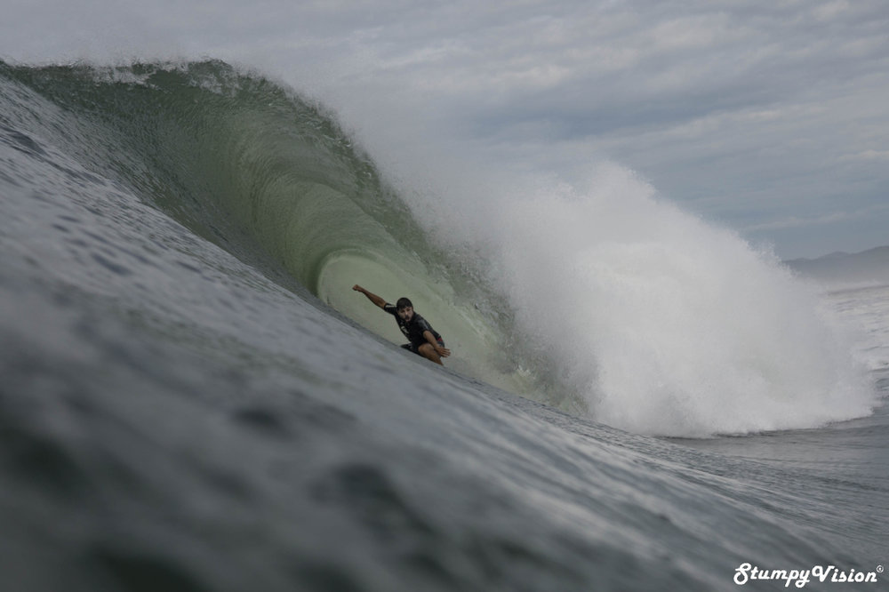 Brasilain Rodrigo Macedo locks into the wave of the day at Punta Roca during a 3m swell.