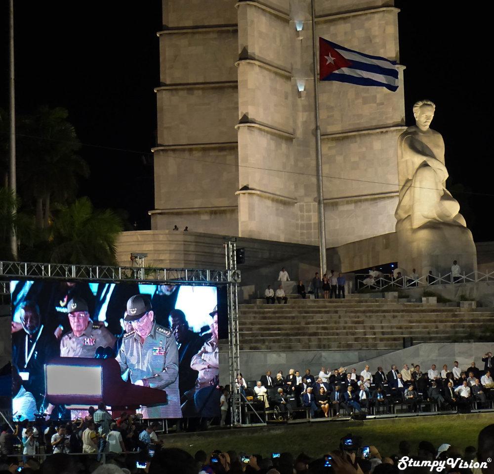 Raul Castro speaks at Fidel's memorial in Plaza de la Revolución in Habana.
