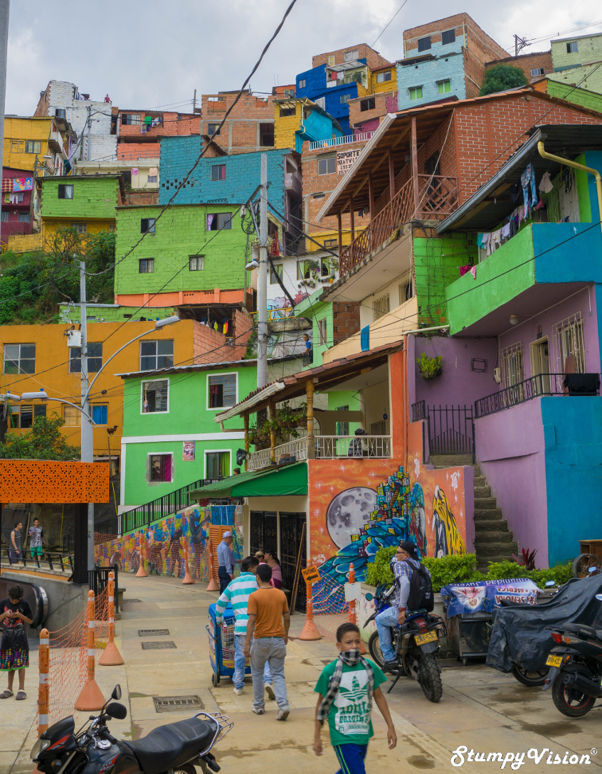 Comuna  13  former Pablo stronghold now rejuvenated tourist attraction.