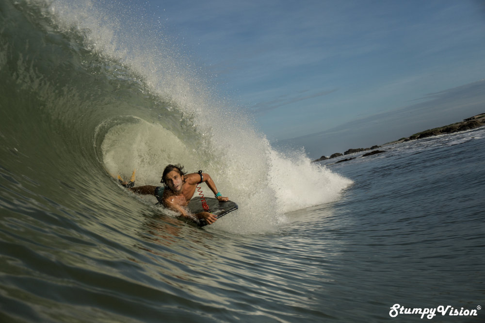 Ecuador's number one bodyboarder Michael Duque loving life at his local.