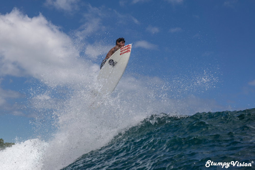 "Ecuadorian National Champion Jonathan ""El Gato"" Zambrano taking flight in the Galápagos."