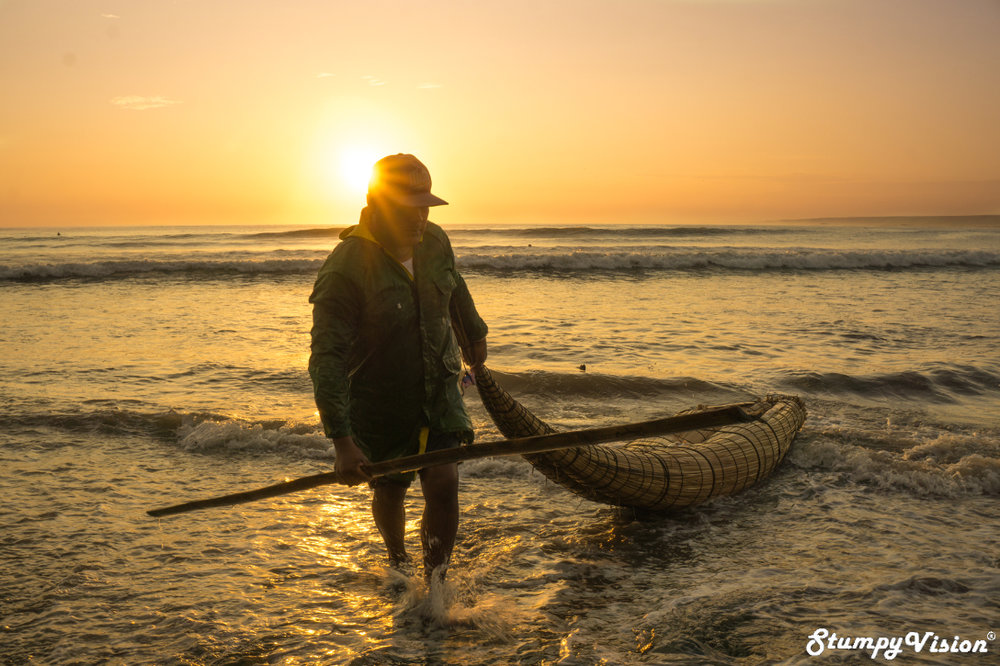 The ancient wave riding craft of Peru, the Caballito de Totora.