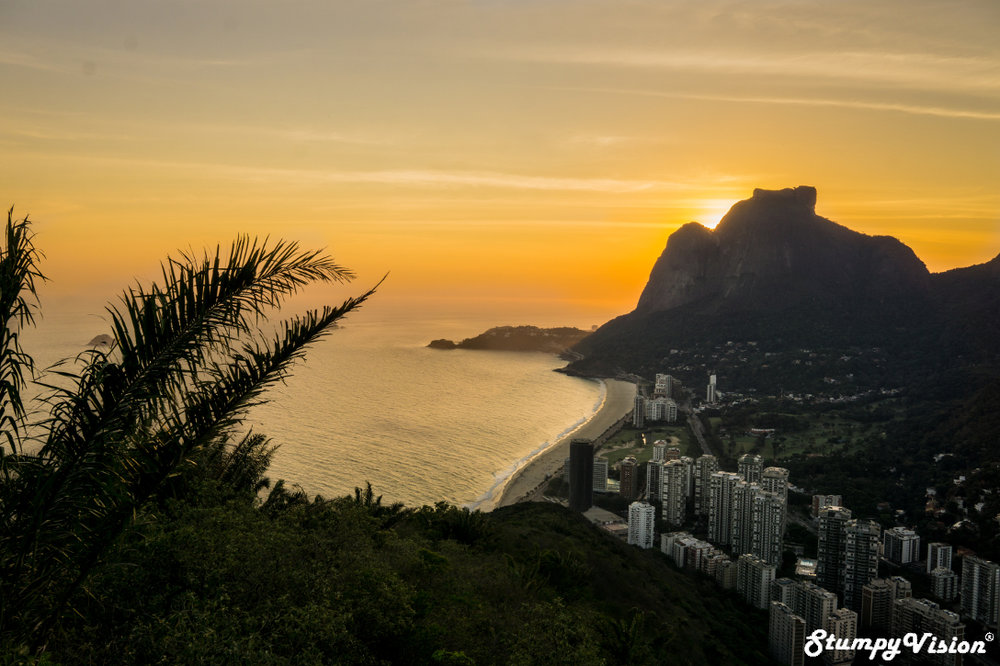 Picture perfect São Conrado as the sun sets behind towering and beautiful Gávea mountain peak.