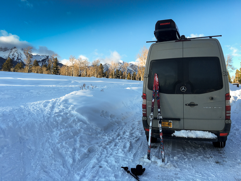 Exploring Bridger/Teton National Park by skis. This was also where I spent the night. 9000' and -11 degrees.