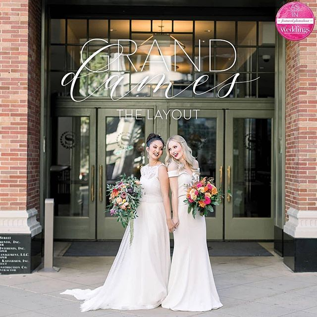 It's here!  The Winter/Spring 2019 Real Weddings Magazine!  The cover model contest Grand Dames layout, shot by @typentecost at the lovely @sheratongrandsacramento , featuring set design by @caineventplanning, florals by @rodartefloraldesign, real bride models Josephine & Maggie, and finally, cakes by Baker & A Black Cat!  For the full layout, link in bio!!