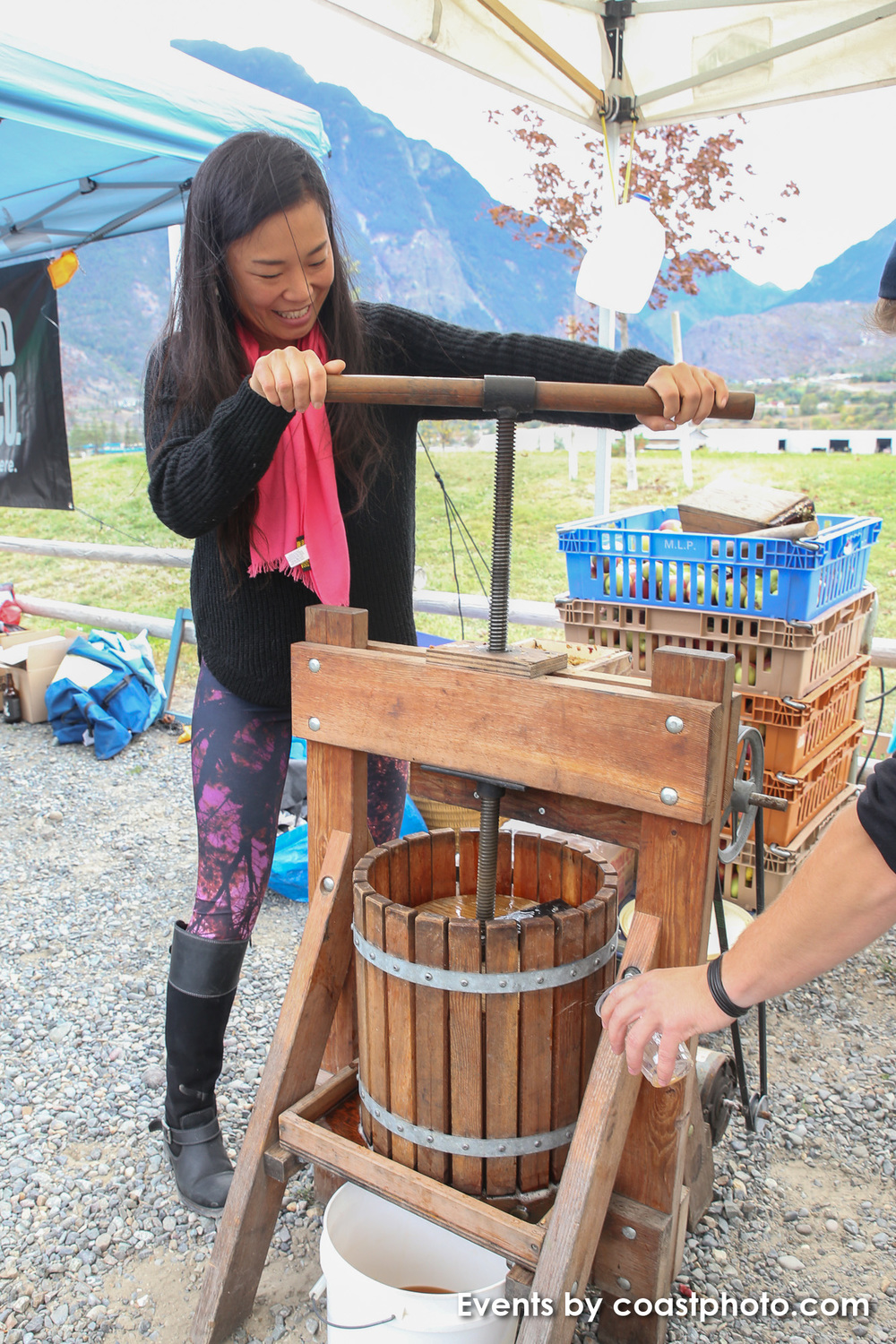 Apples from Amit Springs Farm along Lillooet's Texas Creek Road get pressed by hand to be turned into fresh cider