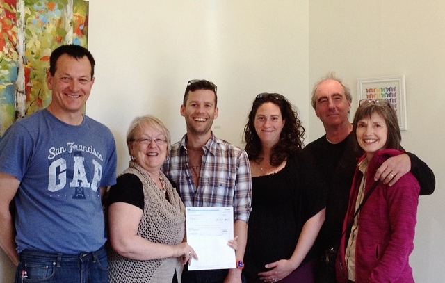 Board members of the Lillooet Hop and Grape Society being presented with a cheque from Fraser-Nicola MLA Jackie Tegart on April 9, 2016 for the ongoing support of the Lillooet Harvest Festival. From left to right: Rolf de Bruin (Fort Berens Winery), MLA Jackie Tegart, Sam Quinlan (HOOH Hops), Alyson McHugh (Coldstream Ecology), Eckhard Zeidler and Deanne Zeidler (Texas Creek Ranch).