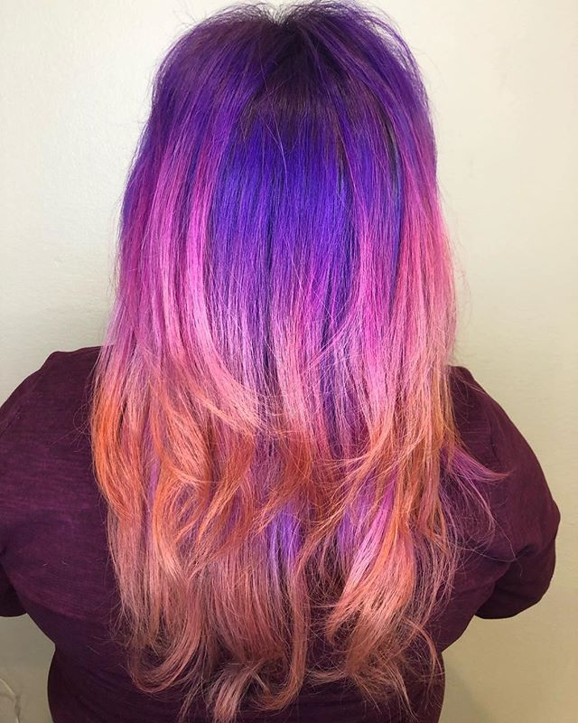 WHAT A FUN LOOK 💗💜🧡 // This was quite a fun project! The before picture wasn't even from the beginning of the appointment. She had her previous color still on (blue, pinkish, purple) and then @krisbly used the @joicointensity color remover which worked AMAZINGLY and SUPER fast and got her to a level 9! and then she bleached her roots & then out the fun color on. What a cool sunset look 🌅💜• • • • • • #joicocolorintensity #joico #scvstylist #scvsalon #pulpriot #blondehair #sunsethair #hairlove