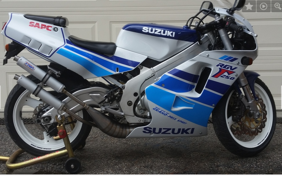 Suzuki RGV250    Another Grand Prix-bred replica, the RGV250 is based on the two-time world champion RGV500 motorcycle. Generally regarded as the most powerful of the 250cc replicas, this bike is a beast.