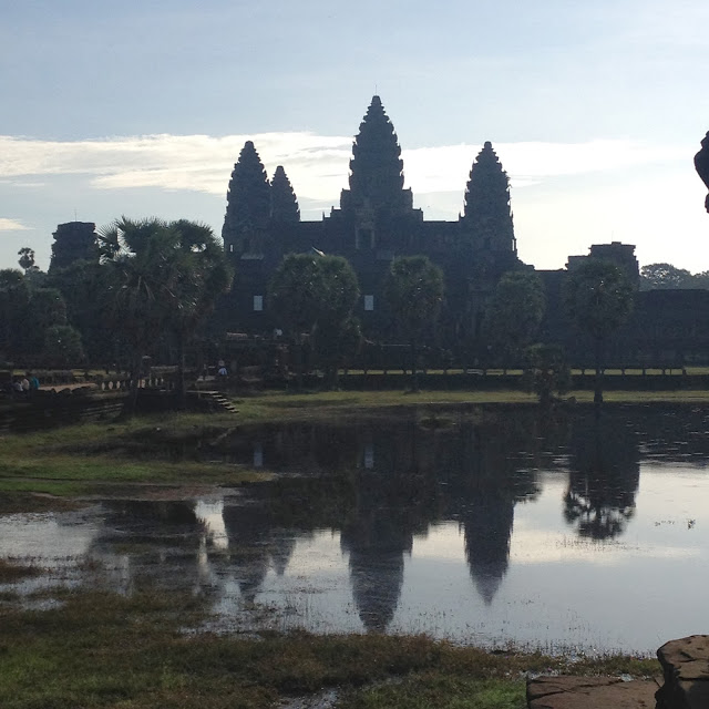 angkor wat  temple in cambodia early morning sunlight