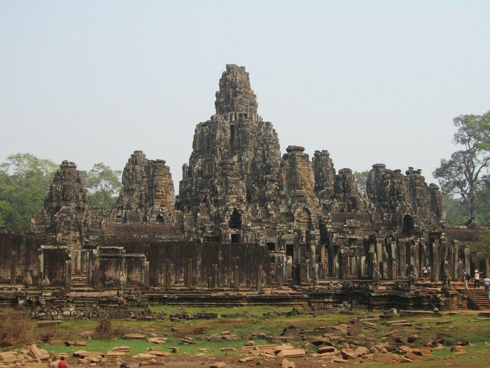 ruins of ancient stone temple angkor thom cambodia