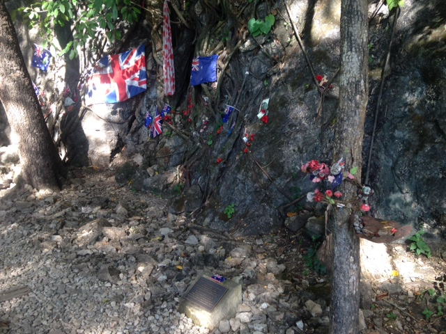 Allied flags hang along hellfire pass in Kanchanaburi, Thailand as a memorial to the POWs who died during the Second World War