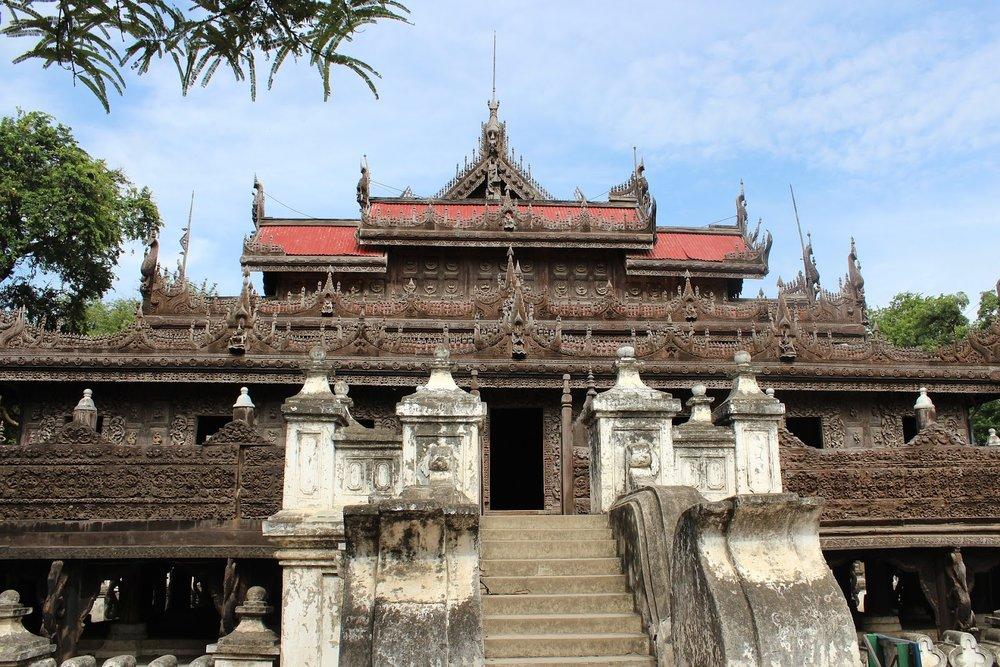 teak wood monastery shwenandaw temple in mandalay myanmar
