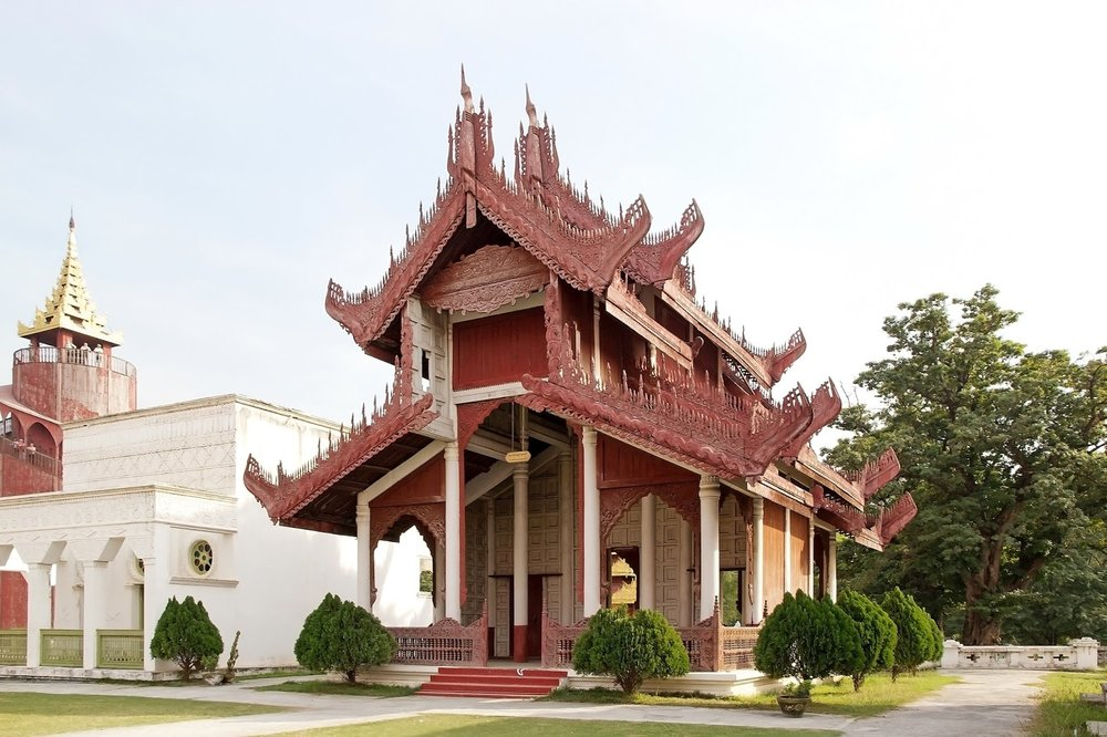 red and white Burmese-style architecture at mandalay palace