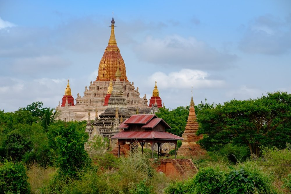 ancient white and gold ananda temple bagan myanmar