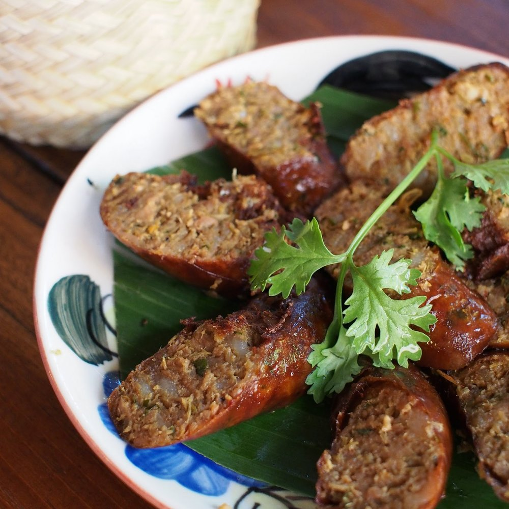Chiang Mai northern Thailand sausage fried with herbs and spices