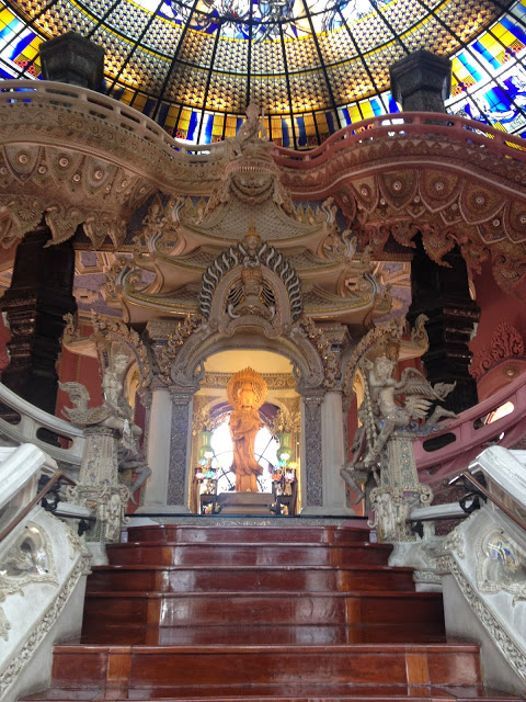 a buddhist shrine inside the Erawan Museum