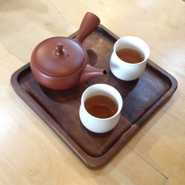a tray of Japanese tea
