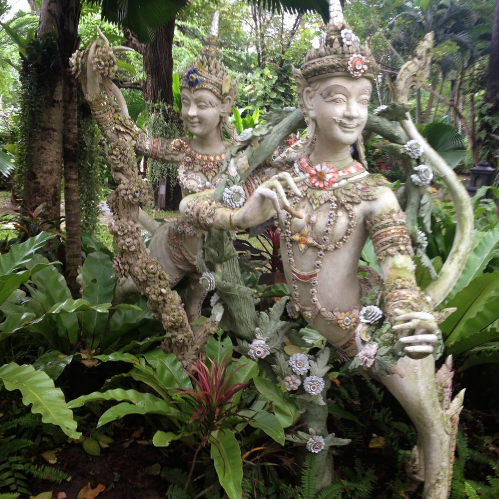 statues depicting stories from Thai buddhist mythology