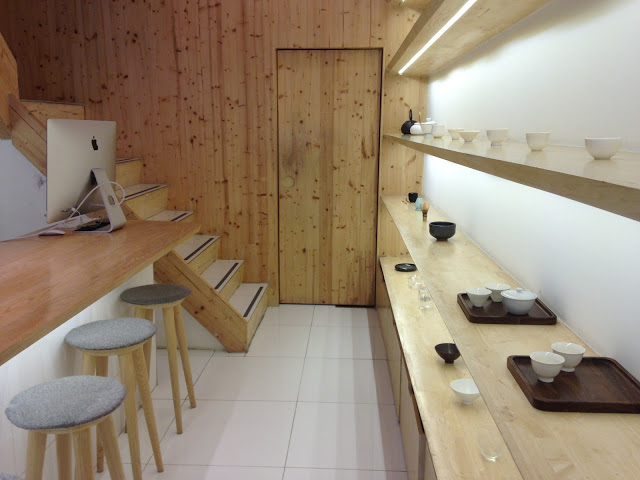 modern tea house interior with light wood