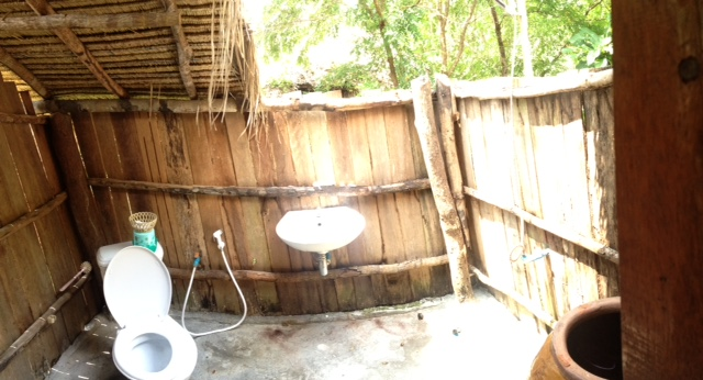 toilet and open air shower in Cambodia