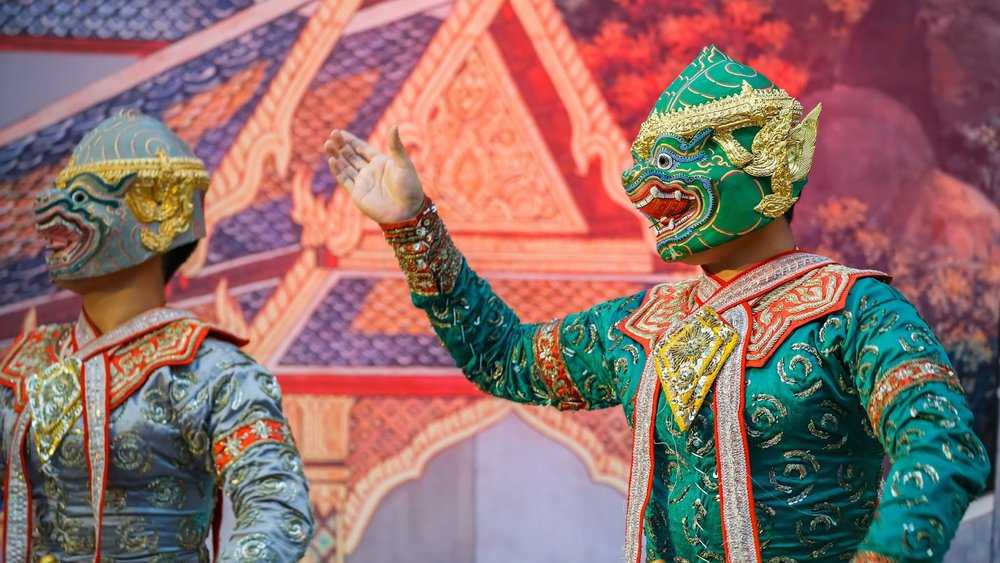 Thai  masked dancers perform a scene from Ramakien, the Thai national epic