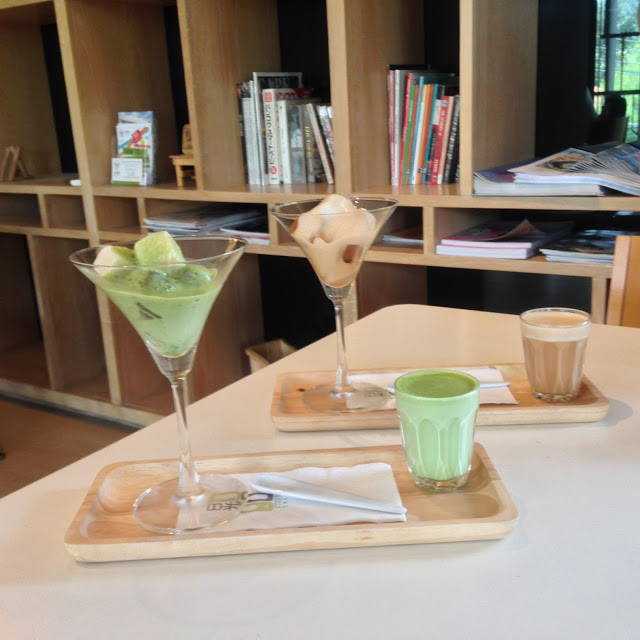 modern frozen tea drinks at Nikko Cafe, Bangkok, Thailand