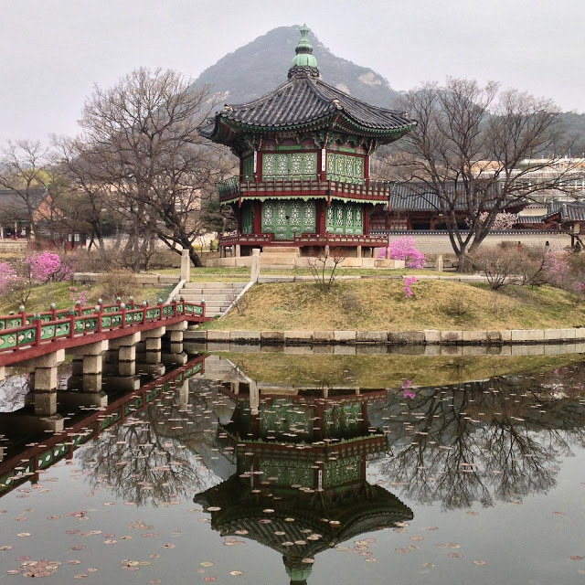 Korean pagoda on an island in the palace complex