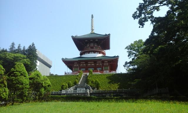 tall red temple building, Narita, Tokyo, Japan