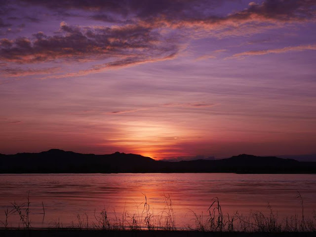 purple and pink sunset, Irrawaddy River, Bagan, Myanmar