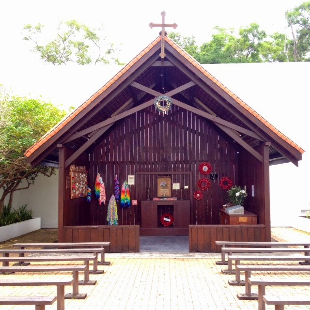 small wooden chapel at Changi POW Prison Museum in Singapore