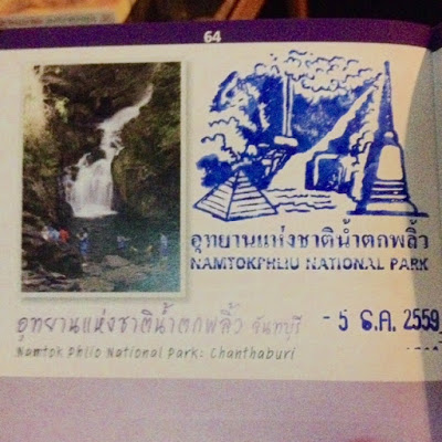a thai national park passport stamp collected in the passbook