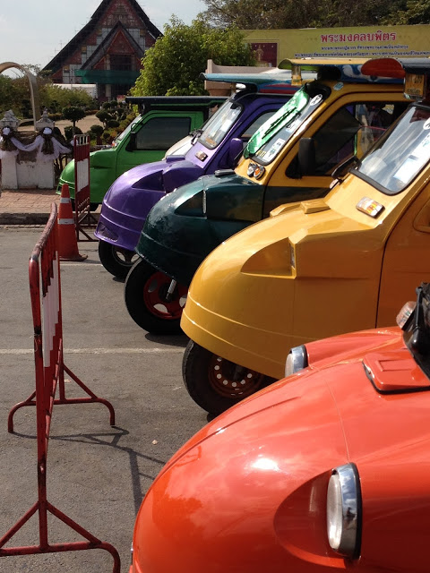 colorful tuk-tuks in Ayutthaya, Thailand