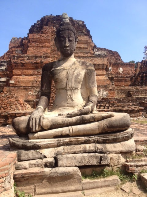 Buddha statue against ancient temple ruins, Ayutthaya, Thailand
