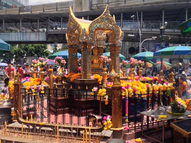 a hindu shrine in Bangkok dedicated to the god Brahma